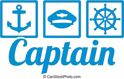 Captain icons - anchor, captain's hat and steering wheel