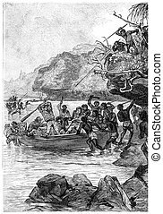 Captain John was attacked by the natives, vintage engraving...