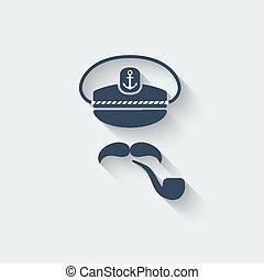 Captain mustache pipe design element - vector illustration....