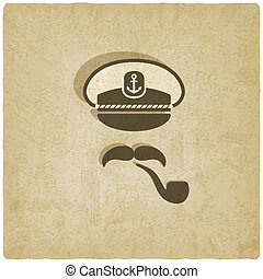 Captain mustache pipe old background - vector illustration....