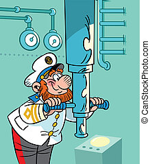 captain near the periscope - The illustration presented the ...