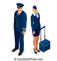 Captain of the aircraft and a beautiful flight attendant in a dark blue uniform, isolated on white background. Vector 3d flat isometric illustration