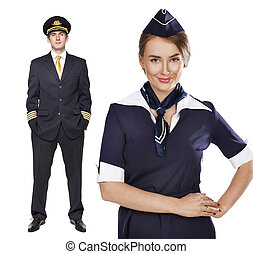 Captain of the aircraft and a beautiful flight attendant in a dark blue uniform