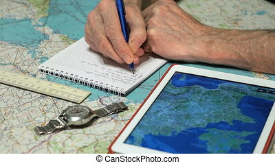 Captain of the aircraft plans a flight route