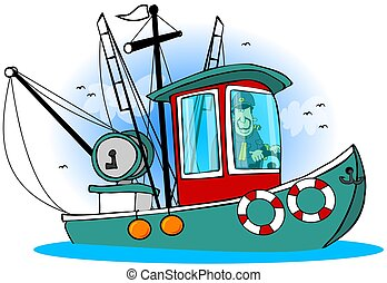 This illustration depicts a man at the helm of his fishing trawler.
