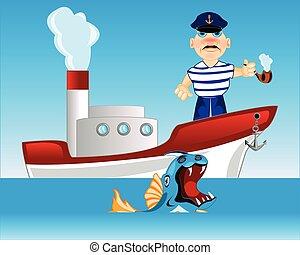 Captain on steamship
