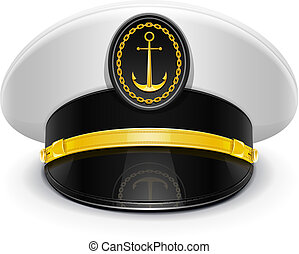 captain peaked cap with cockade vector illustration isolated...
