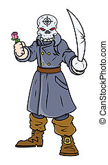 Captain Pirate with Sword and Rose