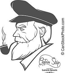 captain profile logo - man silhouette portrait character, ...