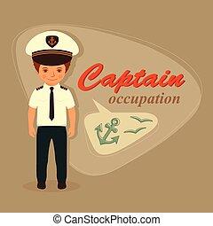 captain, sailor cartoon man, vector sea illustration