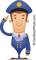 Captain Saluting - Cartoon Character