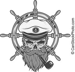 Captain Skull and sea helm. - Captain Skull in a hat with a...
