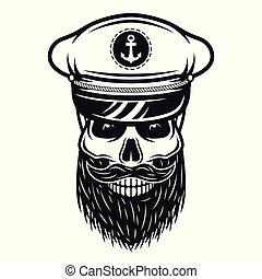 Captain skull in hat with beard vectorillustration