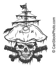 Captain skull on a background of pirate attributes.