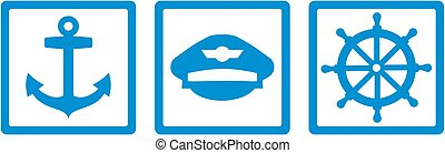 Captain tools - anchor, captain's hat and steering wheel