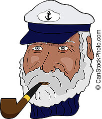 Captain - Vector picture of marine captain with a pipe