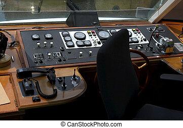 Captain's deck - Small tourist boat wooden captain's deck ...
