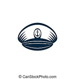 Captains hat with heraldry, vector design