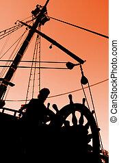 captain\'s, ondergaande zon , silhouette