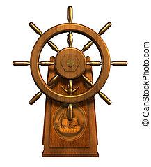 3D render of a captain's wheel.