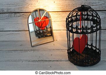 captif, coeur, miroir, reflété, cage d'oiseaux