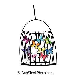 captif, papillons, cage