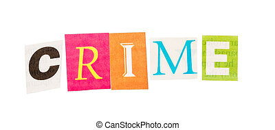 Caption CRIME, made with colorful letters isolated on white.
