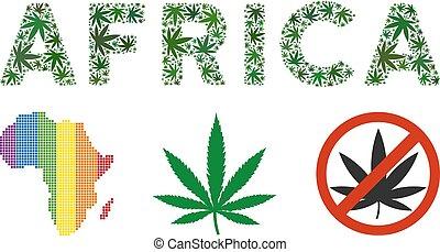 caption, folhas, áfrica, cânhamo, mosaico