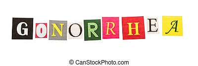 Caption gonorrhea made of colorful letters isolated on white...