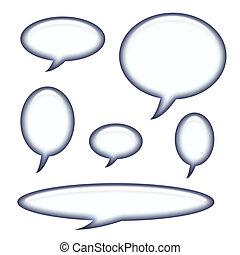 captions, y, discurso, burbujas, aislado