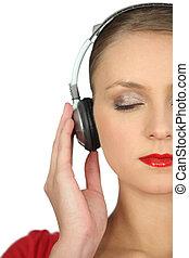 captivé, femme, musique, elle