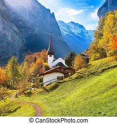 Captivating autumn view of Lauterbrunnen church