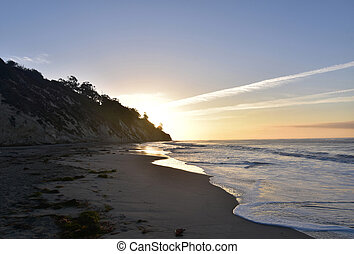 Captivating view of a sunset on the coast of santa barbara...
