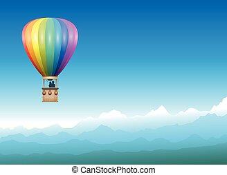 Captive Balloon Mountain Horizon - Captive balloon...