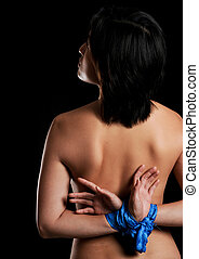 Captive - Asian girl is tied up with blue material