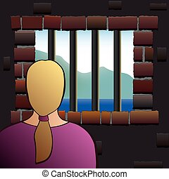 A confined woman is looking out of the barred window of a jail. Vector illustration.