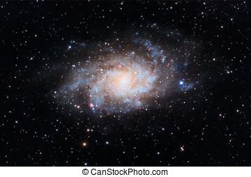 capturé, triangulum, amateur, télescope, galaxie