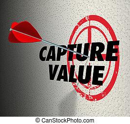 Capture Value Arrow Target Secure Assets Words 3d Render Illustration
