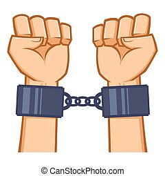 Captured Hands Chained With Handcuf - Captured hand chained...