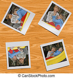 four polaroid style images of a young boy and girl sitting together on the playground left on a wooden table