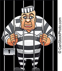 Captured danger prisoner in cartoon style for justice design