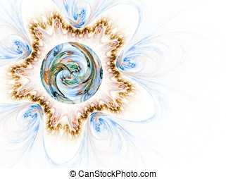 Captured Seasons against White - Fractal sphere surrounded...