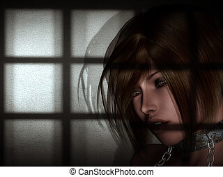 captured - a woman is caught in a dungeon