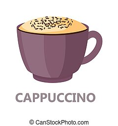 Capuccino cup of the coffee. Brown drink