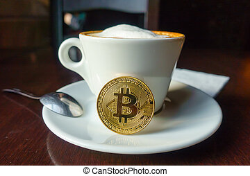 capuccino, monnaie, or, bitcoin, table, café