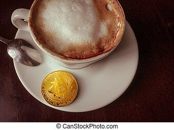 capuccino, monnaie, or, sommet, bitcoin, table, café, vue