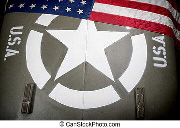 capucha, de, vehículo militar