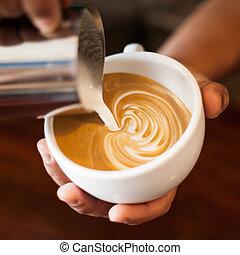 capuchino, arte, latte