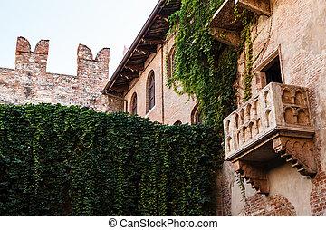 capulet, イタリア, verona, veneto, 有名, 家, juliet, バルコニー