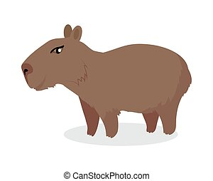 Capybara Cartoon Icon in Flat Design - Capybara cartoon...